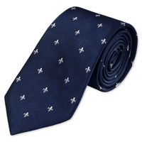 Woven navy and white fleur de lys tie   Men's woven silk ties from Charles Tyrwhitt   CTShirts.com