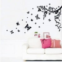 Home removable recycling wall sticker decals black tree black butterfly with white flowers:Amazon:Home & Kitchen