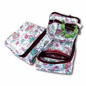 Quilted Cotton Cosmetic Bag Jewelry Bag Floral Travel Pouch Pink Green