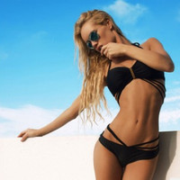 Black Strappy Swimsuit  10080