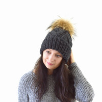 Double Brim Knit Slouchy Hat with Large Fur Pom Pom | The Zoe