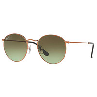 Ray Ban Round Metal Sunglasses Shiny Medium Bronze with Green Gradient Brown RB 3447 9