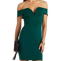 PLUNGING OFF-THE-SHOULDER BODYCON DRESS