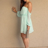 Off Shoulder 'Pixie' Dress (Mint) from Social Butterfly House