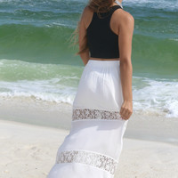Lily Of The Valley Ivory Lace Panel Maxi Skirt