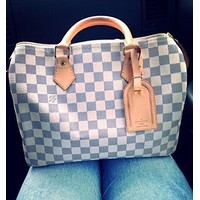 Hipgirls Louis Vuitton LV Fashion Women Monogram Check Leather Shopping Shoulder Bag Handbag White