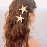 Pooqdo Newest Stylish Fashion Women Girl Lady Hair Tie Crystal Rhinestone Pearl Hairpins Ponytail Holder (Starfish Hair Clip)
