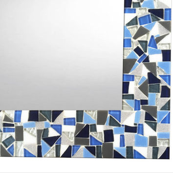 Bathroom Mirror, Mosaic Mirror, Large Wall Mirror, Blue Gray White