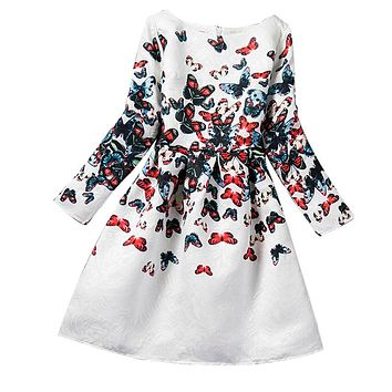 Winter Children Girl Clothing Butterfly Print Teenage Girls Dresses Kids School Ceremonies Party Wear Clothes Girls Age 12 Years