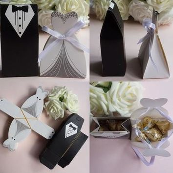 50 Pcs Tuxedo Dress Groom Bridal Wedding Party Favor Gift Ribbon Candy Boxes [7983401351]
