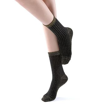 Aliyah Scallop Sparkle Crew Sock | Black Gold