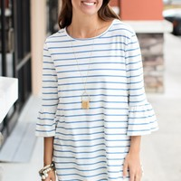 Stripe On 3/4 Sleeve Top