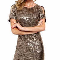 Casual Sequined Cut Out Shoulder And Back Mini Dress