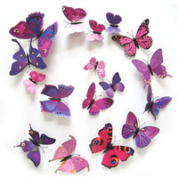 12PCS 3D PVC Magnet Butterflies DIY Wall Sticker Home Decor