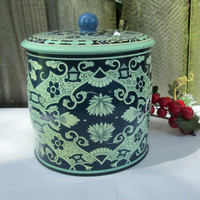 Vintage Daher Tin, Blue Moroccan Style, Biscuit Tin, Charming Cottage Decor
