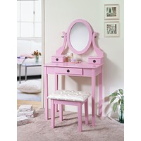English vanity table with stool and mirror