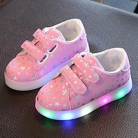 Leather Star Pattern Kids LED Light Up Sneaker Athletic Non-Slip Lace Up Walking Shoes