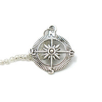 Compass Necklace, Compass Pendant, Charm Jewelry, Silver Compass Necklace, Compass Charm, Best Friend Gift, Love Necklace, Lost Without You