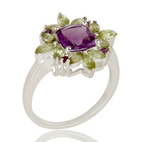 925 Sterling Silver Amethyst And Peridot Flower Designer Cocktail Ring