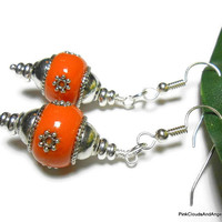 Earrings Dangle Drop Style Orange Copal Resin Look Beads with Silver Accents Handmade Fashion Jewelry Argentium Silver Ear Wires