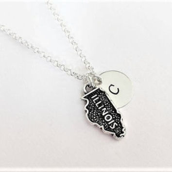 Illinois necklace personalized initial necklace Illinois jewelry map necklace friendship best friend no matter where monogram charm