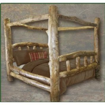 Queen Size Classic Aspen Canopy Log Bed