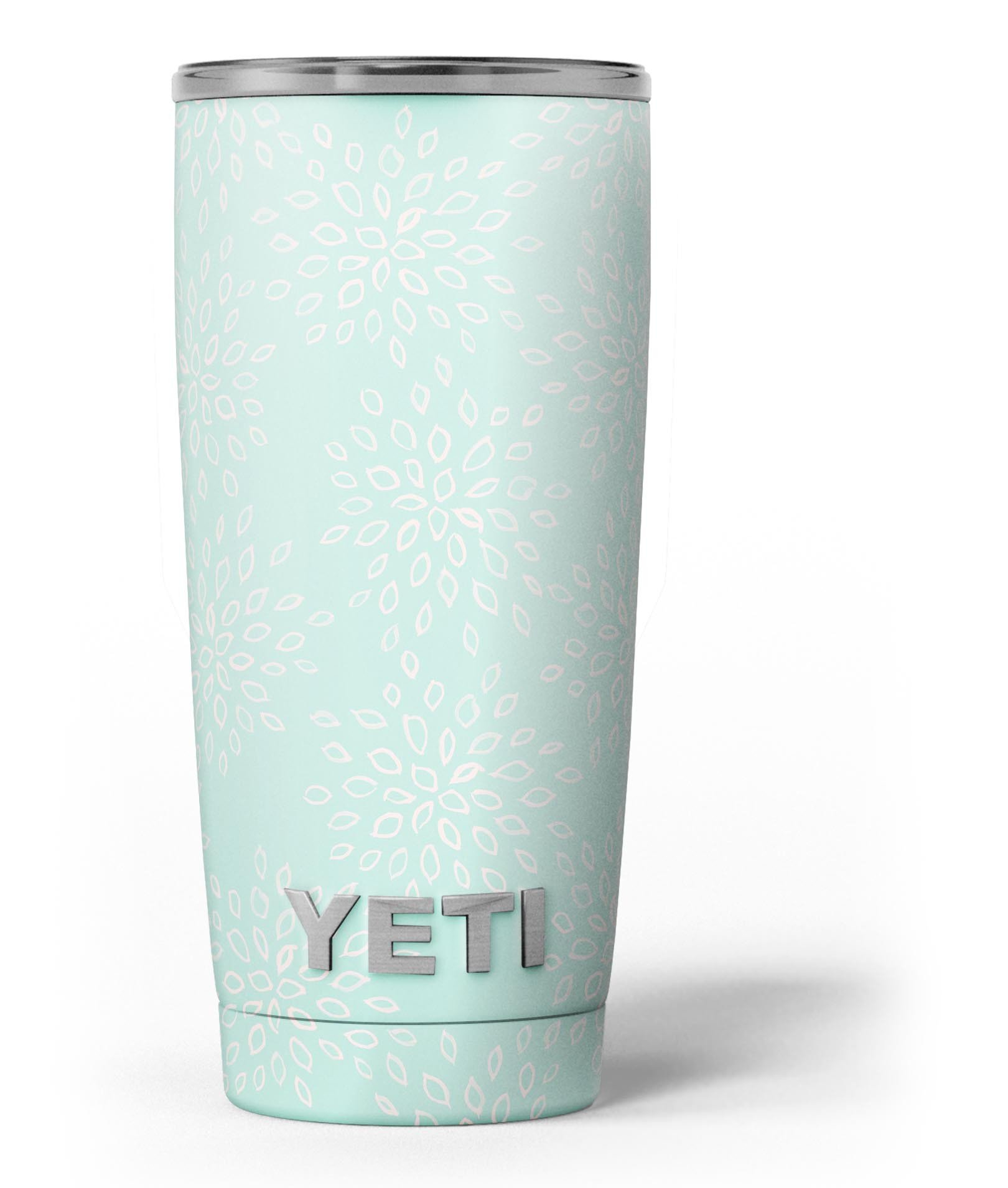 Image of The Mint Flower Sprout - Skin Decal Vinyl Wrap Kit compatible with the Yeti Rambler Cooler Tumbler Cups