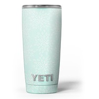 The Mint Flower Sprout - Skin Decal Vinyl Wrap Kit compatible with the Yeti Rambler Cooler Tumbler Cups