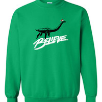 Believe Loch Ness Monster Nessie Funny Christmas Sweater Shirt Hoodie ugly sweater party christmas Funny Mens Ladies cool MLG-1108