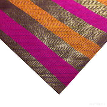 Orange / Rust / Gold Jacquard Fabric - Indian Silk - Striped Banaras Silk Jaquard Fabric Half Yard