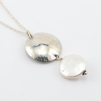 Chased dome pendant with white coin pearl, sterling silver, freshwater pearl, handmade, white, elegant, modern, circle, feminine