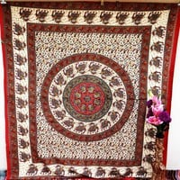 Brown Elephant Tapestry Wall Hanging Pigment Round Mandala Dorm Tapestries