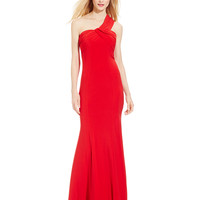 JS Boutique One-Shoulder Draped Gown