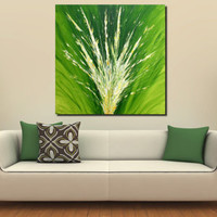 Original Large XXL Abstract Art Painting Green Acrylic on Stretched Canvas Frame