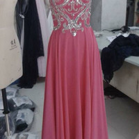Peach Beaded Long Prom Dress,Full Shoulder Chiffon Sexy Prom Dresses 2016, Cheap Custom Made Dress