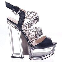 Thunder09Y By Bumper, Lucite Clear Platform Heel Sandal Strappy Women Shoes