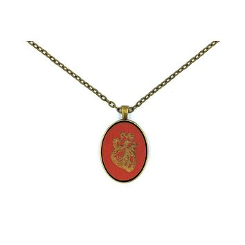 Burnt Red Anatomical Heart Small Cameo Oval Pendant   Brass   Handmade