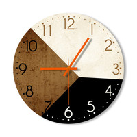 Wall Clock - Brown Black Creamy White Clock Home Decoration Wall Art Light Brown - Living Room For Office For Home Gift For Everyone