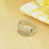 Fashion Semicolon Ring Jewelry Mental Health Awareness Fighter Ring Motivational open Ring Jewelry YLQ0462