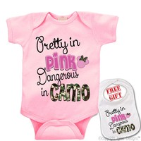 """"""" Pretty in Pink, Dangerous in Camo """" novelty & Sports theme Onesuit & bib (Available in 5 Colors, Click to view)"""
