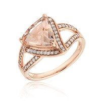 Trillion Morganite and Diamond Fashion Ring 1/4ctw