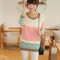 Block Printed Long-Sleeve Pullover Knitted Shirt