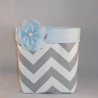 Gray Chevron And Baby Blue Polka Dot Fabric Basket With Detachable Fabric Flower Pin For Storage Or Gift Giving