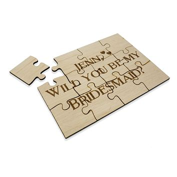 Unique Personalized Wood Jigsaw Puzzle Wedding Will you be my bridesmaid maid of honor flower girl 5x7