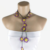 MOTHERS DAY Purple and Yellow  Crochet  Lariat Necklace,  Boho Hippie Necklace, Summer scarf Necklace,  Fabric Necklace Crochet, Gift For He