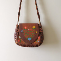 70's Tooled Leather Purse Hand painted Floral Hippie Bohemian Bag Cross Body Woven