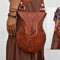 Handcrafted Mexican Vintage Style Purse Hand Engraved Leather Bag Crossbody Bag Rustic Purse Retro Boho Leather Purse Made to Last