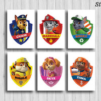 paw patrol poster set of 6 paw patrol wall art chase marshall rocky rubble skye zuma