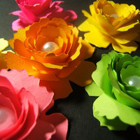 One dozen ( 12 ) hand rolled 2 inch neon day glo sweetheart paper roses