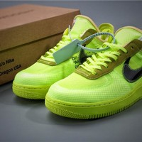 Off White OW x Air Force 1 Green Sneaker